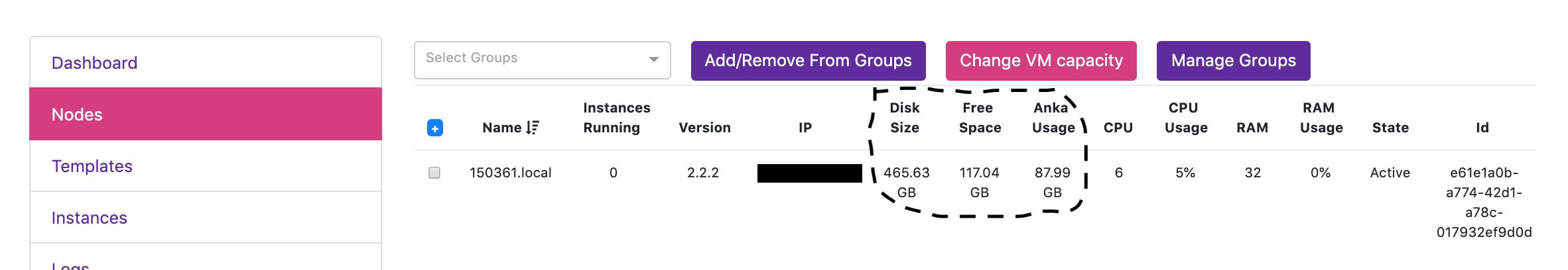 Node Disk Usage Information